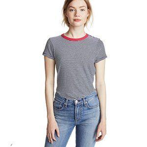 Rag & Bone/JEAN Striped T-shirt with Red Trim